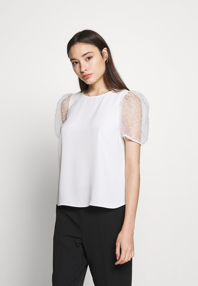 PETITES ORGANZA PUFF SLEEVE TOP - Blouse - ivory