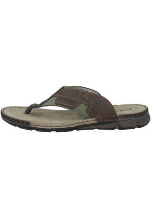 JOHN  - T-bar sandals - olive combi
