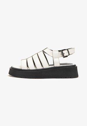 Platform sandals - white croco owh