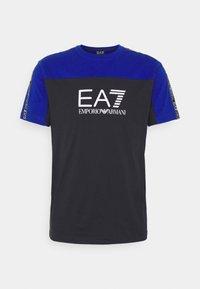 Print T-shirt - black/royal blue