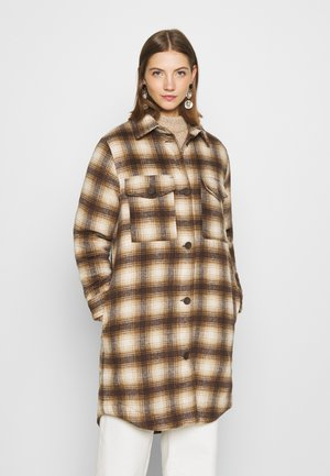 JDYTIK LONG CHECK JACKET  - Classic coat - tannin