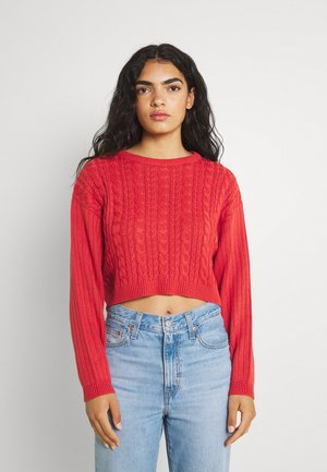 CROPPED LOOSE CABLE JUMPER - Jumper - light red