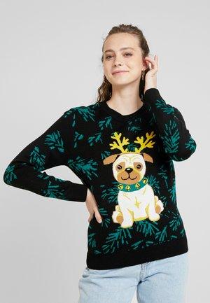 LADIES PUG CHRISTMAS - Jumper - black