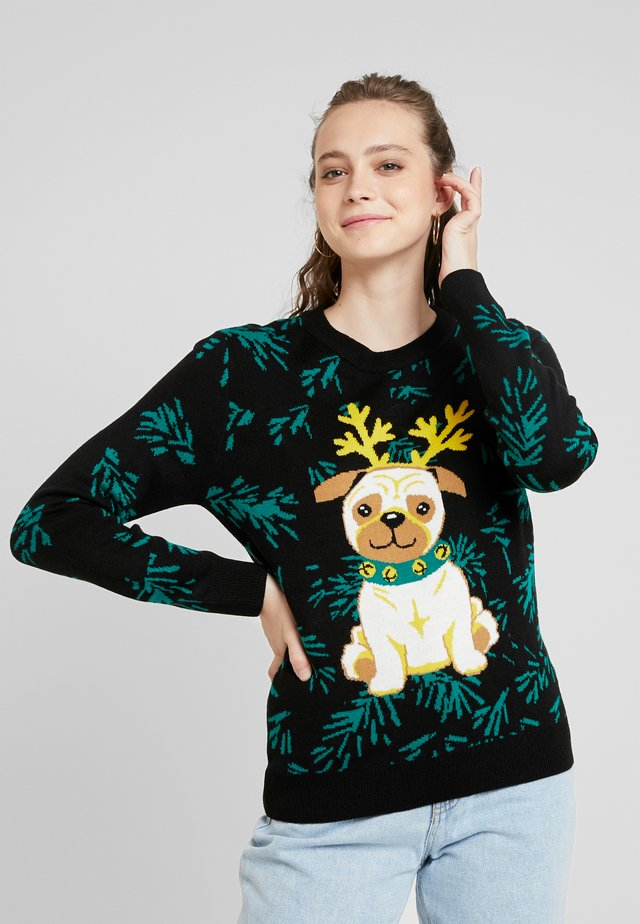 LADIES PUG CHRISTMAS - Jersey de punto - black
