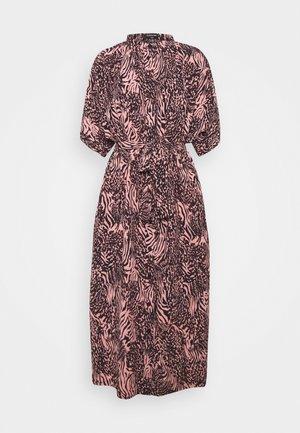 ZEBRA BUTTON DOWN MIDI DRESS  - Day dress - pink