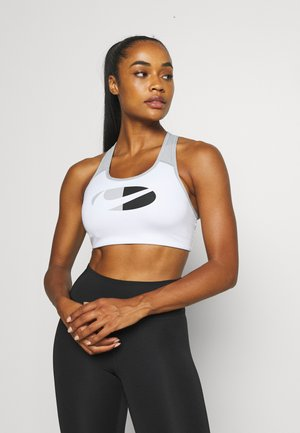 LOGO BRA - Brassières de sport à maintien normal - white/black/light smoke grey