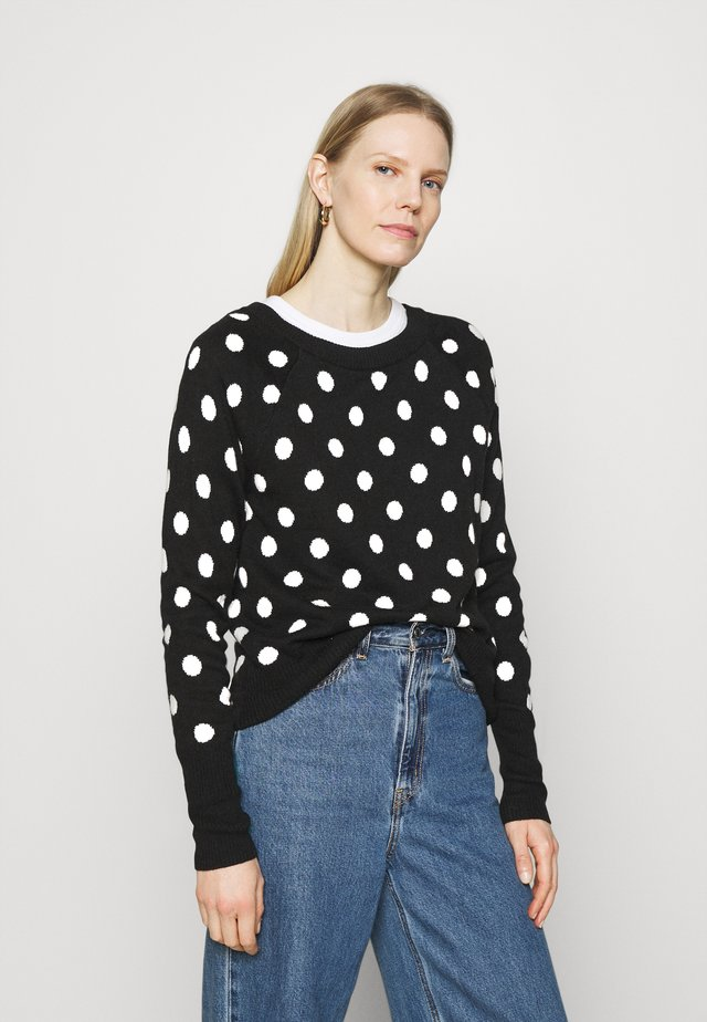 CRAZY DOT NEW COZY - Sweter - black/white