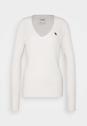 ICON CABLE VNECK - Jumper - cream