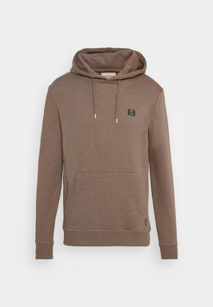 PIECE HOODIE - Hoodie - brown melange/dark green