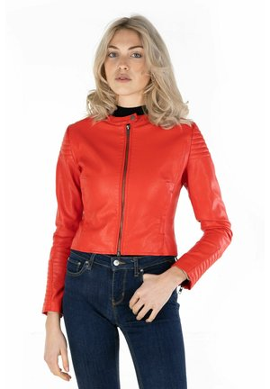 Faux leather jacket - chili red
