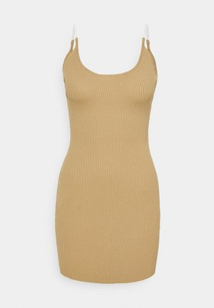 MINI DRESS - Vestido de punto - camel