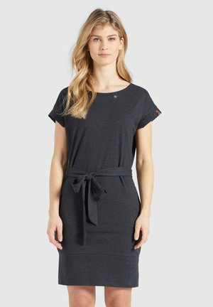 RAMONA - Jersey dress - dunkelgrau meliert