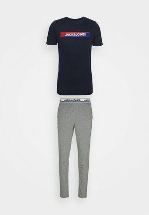 JACSIMON LONG PANTS - Pyjama set - grey melange/navy blazer