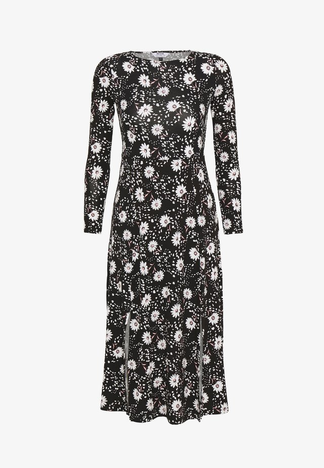 DAISY DOT SPLIT MIDI DRESS - Žerzejové šaty - black