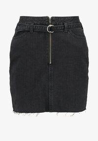 Hollister Co. - RING BELT - Denimová sukně - black - 3