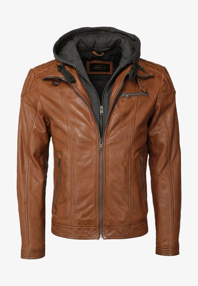 MIT KAPUZE - Leather jacket - cognac