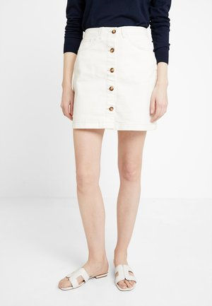 MINI SKIRT - Spódnica jeansowa - bull denim/white