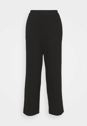 CROPPED STRAIGHT LEG PANTS - Trousers - deep black