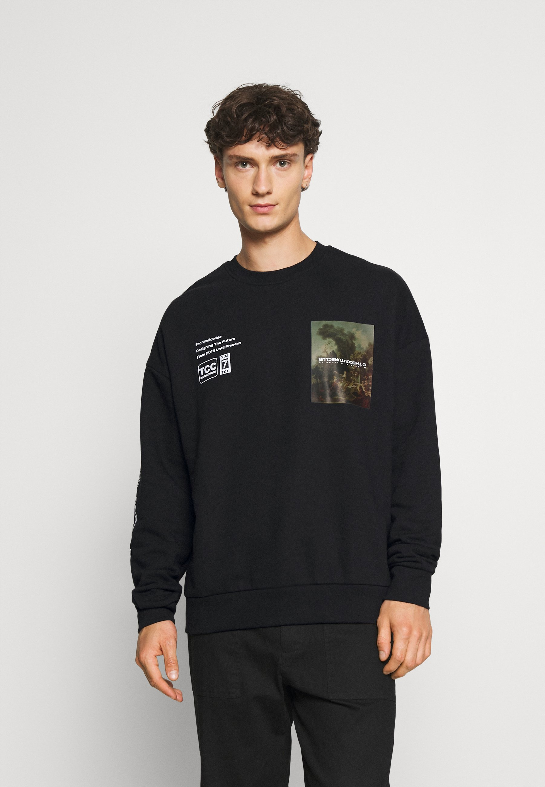 Homme OVERSIZED CREW WITH OIL-PAINT STYLE ART PRINT - Sweat à capuche