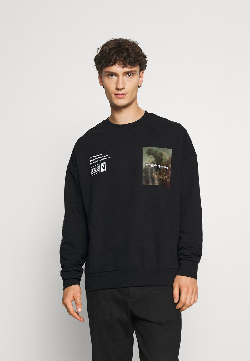 The Couture Club - OVERSIZED CREW WITH OIL-PAINT STYLE ART PRINT - Hoodie - black