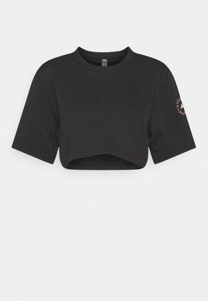 CROP TEE - T-shirt con stampa - black/soft powder