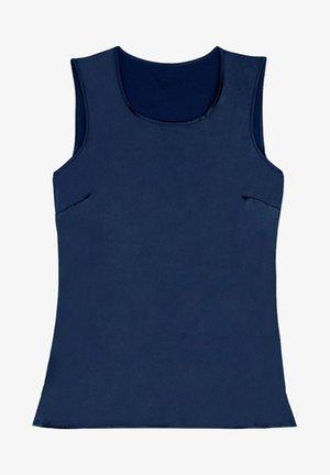RUNDHALS-TOP MIT BREITEN SCHULTERN AUS SEIDE UND MODAL - Pyjama top - deep blue