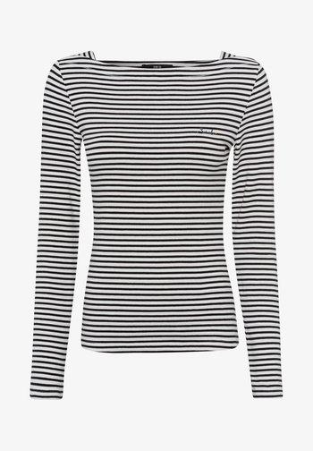 MIT STREIFEN - Long sleeved top - black