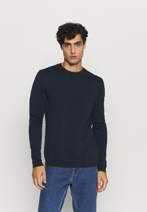 SLHBEAK CREW NECK - Stickad tröja - night sky/estate blue/egret
