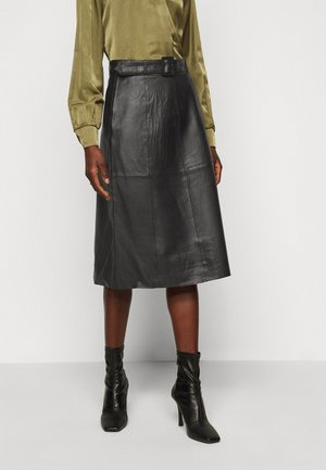 SLFOLLY  MIDI SKIRT - Lederrock - black