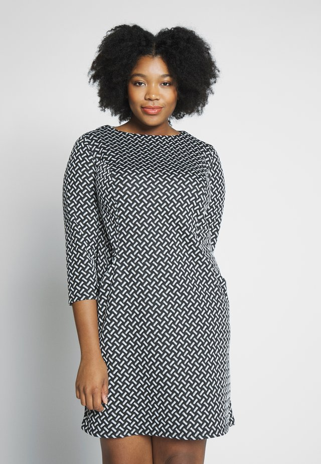TEXURED PONTE DRESS WITH POCKETS - Shift dress - black