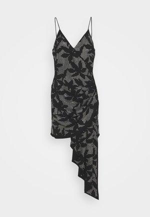 FLOWER HOTFIX CRYSTAL EMBROIDERY ASSYMETRIC CAMI DRESS - Korte jurk - black/silver