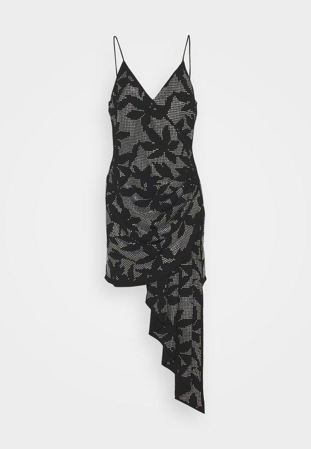 FLOWER HOTFIX CRYSTAL EMBROIDERY ASSYMETRIC CAMI DRESS - Vestito estivo - black/silver