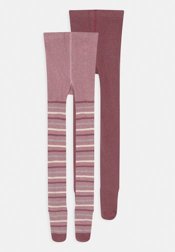 STRIPES 2 PACK UNISEX - Tights - chalk pink melange