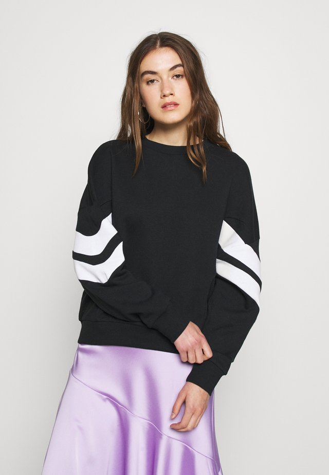 OVERSIZED STRIPE SLEEVE SWEATSHIRT - Bluza - black/white
