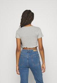 Missguided - SHIRRED CROP 2 PACK - Basic T-shirt - rose pink/grey - 2