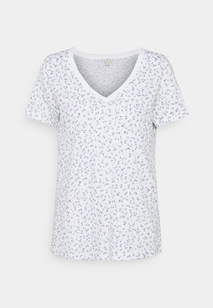 V NECK TEE - Print T-shirt - white