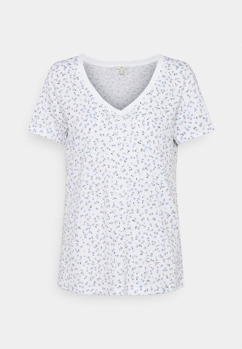 edc by Esprit - V NECK TEE - Print T-shirt - white