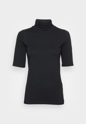 ELA ROLL NECK SHORT - Jednoduché triko - black