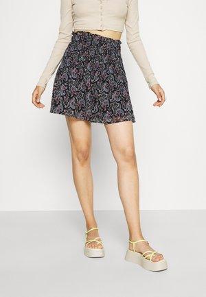 ONLASTA SMOCK SKIRT - Mini skirt - black/electric