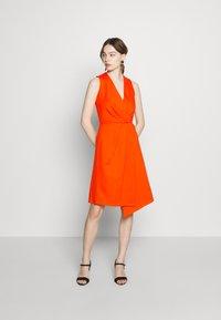 Closet - PLEATED WRAP A-LINE DRESS - Jersey dress - orange - 1