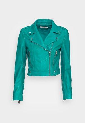 Kožená bunda - turquoise