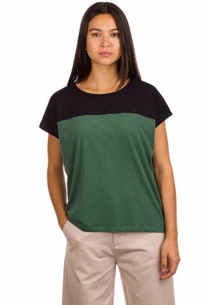 Print T-shirt - pineneedle/black
