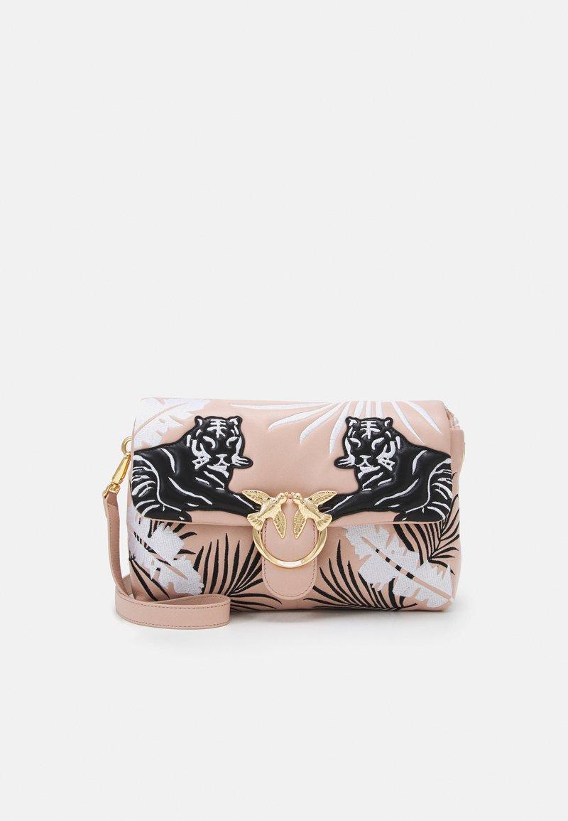 Pinko - LOVE CLASSIC PUFF TIGER QUILT - Across body bag - white/black/cipria