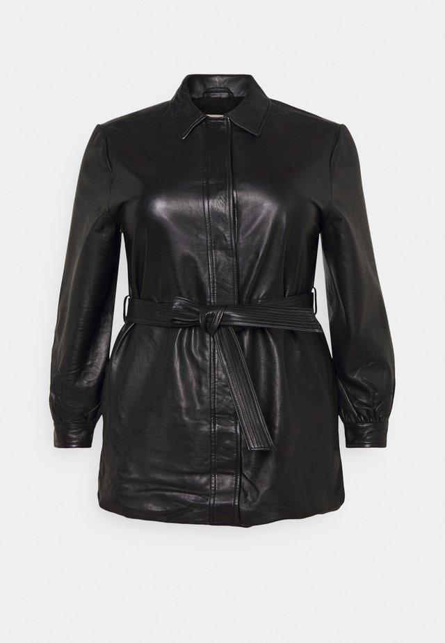 SLFLEA LONG JACKET - Imitatieleren jas - black