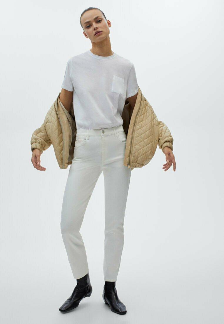 Massimo Dutti - MIT HOHEM BUND - Trousers - white