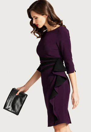 CONTRAST SIDE FRILL - Shift dress - dark purple