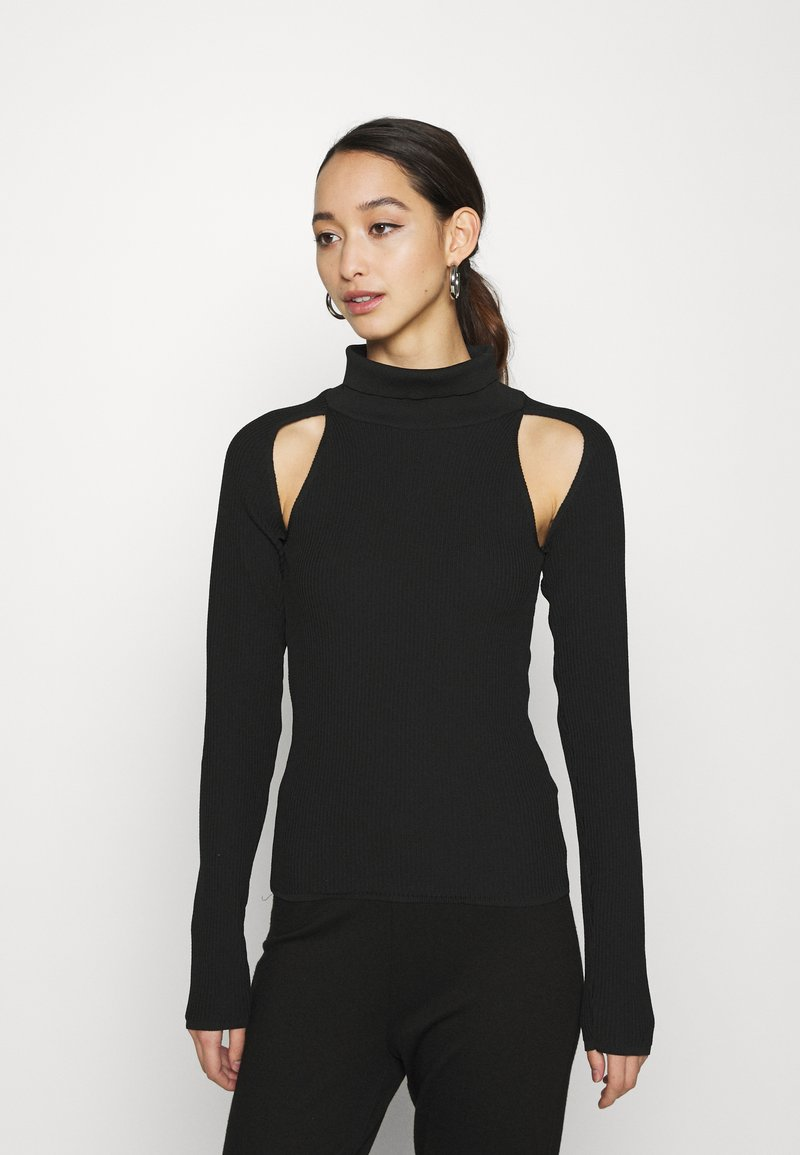 Topshop - SPLICED ROLL - Sweter - black