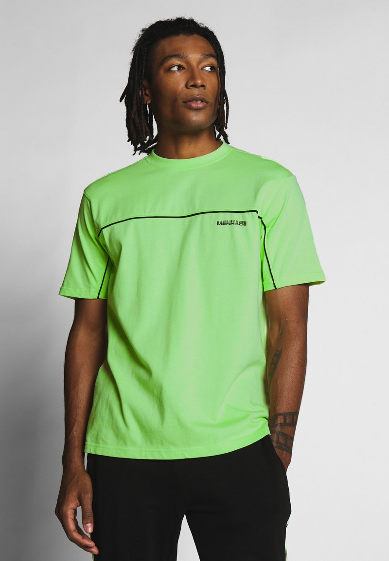 Mennace - CURVED PIPING - T-shirt imprimé - lime green