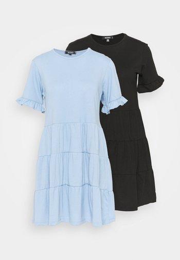 TIERED SMOCK DRESS 2 PACK - Jerseykjole - black/blue