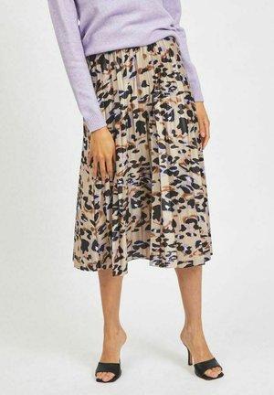 PLISSEE - A-line skirt - beige, mottled beige